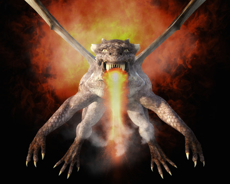 spitting: 3D Illustration; 3D Rendering of a Dragon Stock Photo