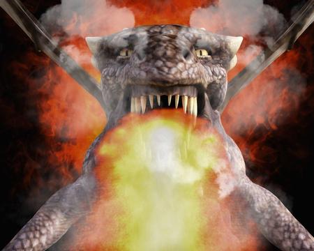 3d dragon: 3D Illustration; 3D Rendering of a Dragon Stock Photo