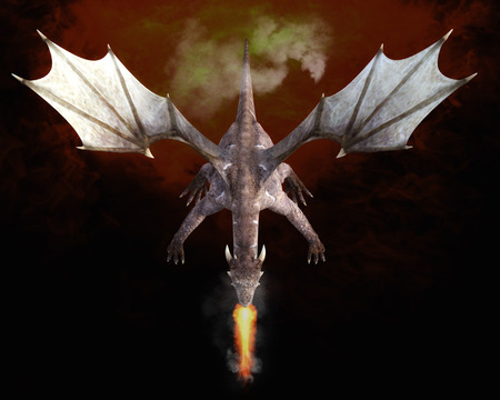 beings: 3D Illustration; 3D Rendering of a Dragon Stock Photo