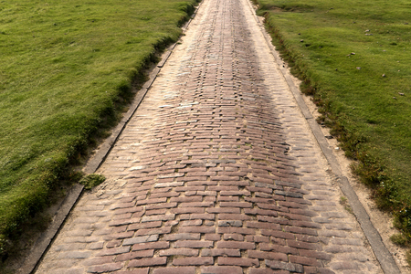 westerheversand lighthouse: Brick Path in Westerhever in Germany Stock Photo