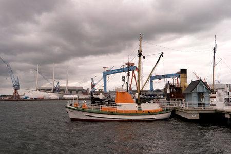 kiel: KIEL, GERMANY - OKT 3, 2016: View of the port of Kiel in Germany Editorial