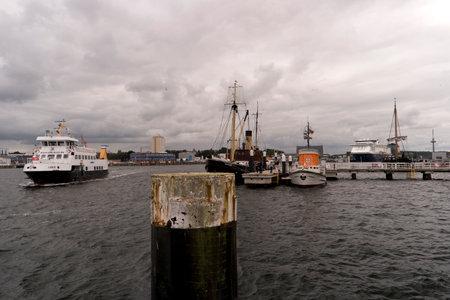 kiel fjord: KIEL, GERMANY - OKT 3, 2016: View of the port of Kiel in Germany Editorial