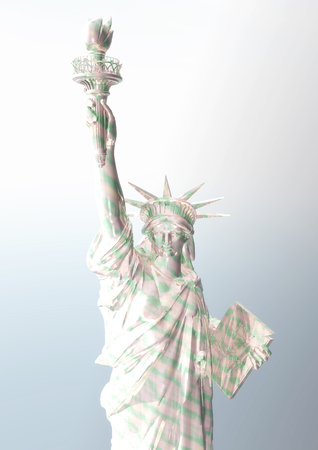 wrecked: Digital Rendering of the Statue of Liberty Stock Photo