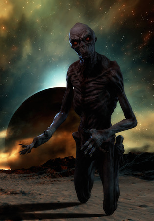 monstrous: 3D rendering of a creepy monster