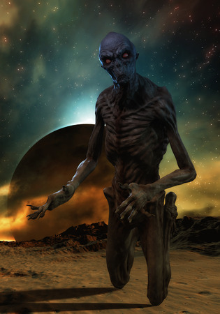 mutation: 3D rendering of a creepy monster
