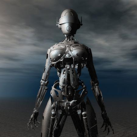 Digital 3D Illustration of a Fembot