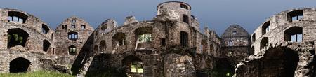 gloom: Panoramic View of the Ruin Schönrain in the Spessart in Germany