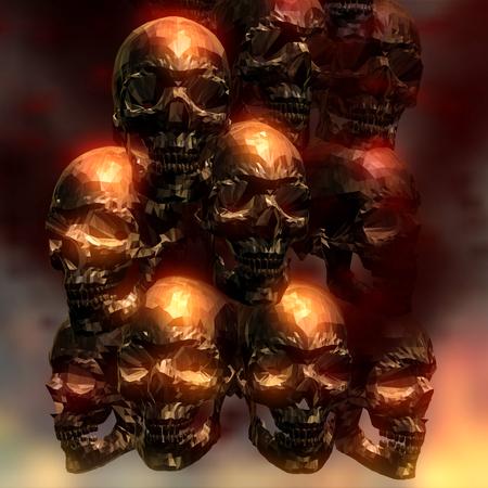 3D Illustration of creepy Skulls