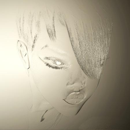 Digitale 3D-Illustration eines weiblichen Reliefs Standard-Bild - 86078644