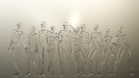 Digital 3D Illustration of a Female Manikins Relief