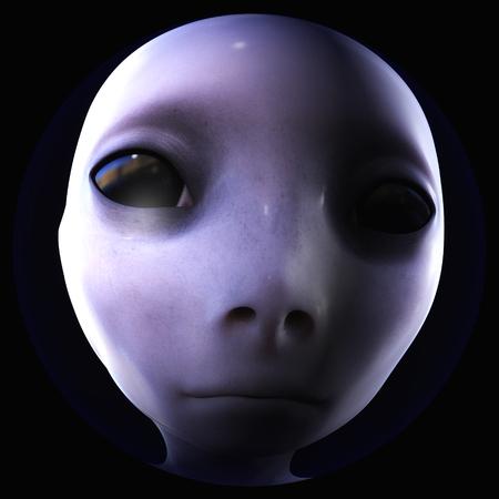 Digital 3D Illustration of an Alien Head
