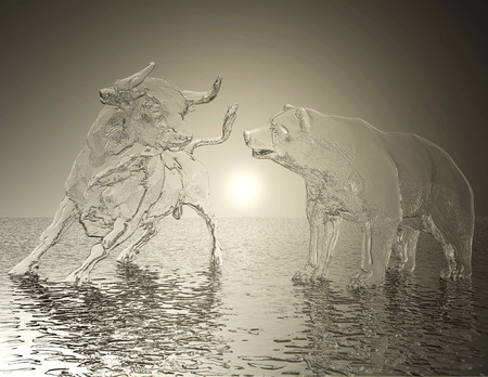 Digital 3D Illustration of a Bull and Bear Relief Banco de Imagens