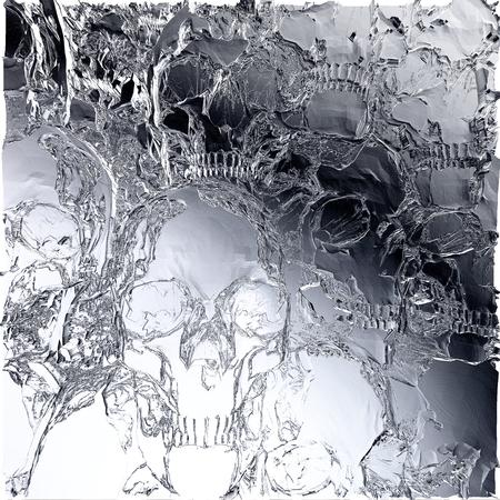 Digital 3D Illustration of a Skull Relief
