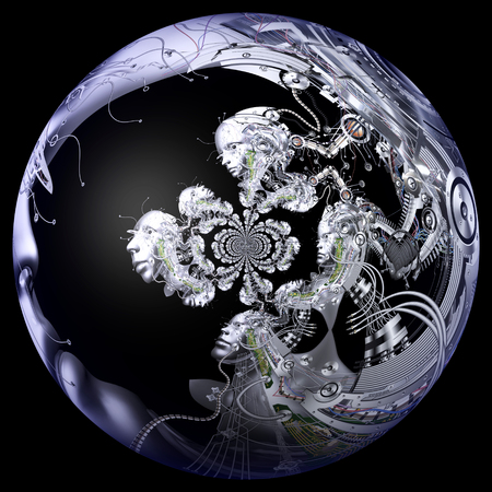 cybernetics: Digital 3D Illustration of a Cyborg Head Stock Photo