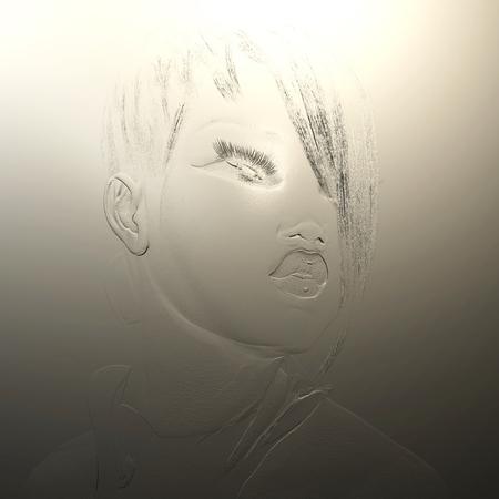 Digitale 3D-Darstellung eines weiblichen Reliefs Standard-Bild - 86078687