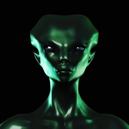 Digital 3D Illustration of an Alien Banque d'images
