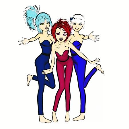 Digital 3D Illustration of Manga Girls