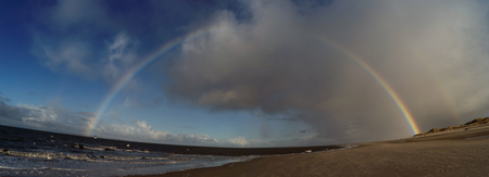 Panoramic View with Rainbow on the North Frisian Island Amrum in Germany