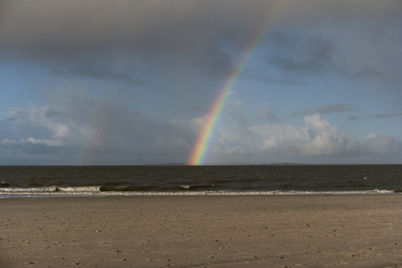 Rainbow on the North Frisian Island Amrum in Germany Banque d'images