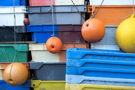 Fish Crates on the North Frisian Island Amrum in Germany Banque d'images