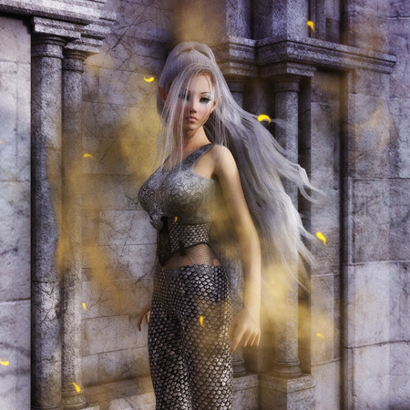 3D Illustration of a Fantasy Woman, Digital Model Stock Photo