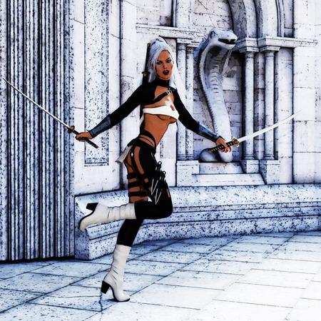 3D Illustration; 3D Rendering of a female Fantasy Warrior