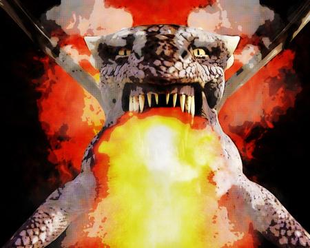 3D Illustration; 3D Rendering of a Dragon Stockfoto