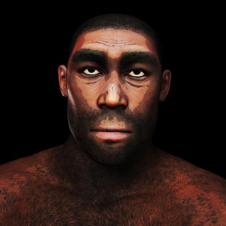Digitale 3D-afbeelding van een homo erectus
