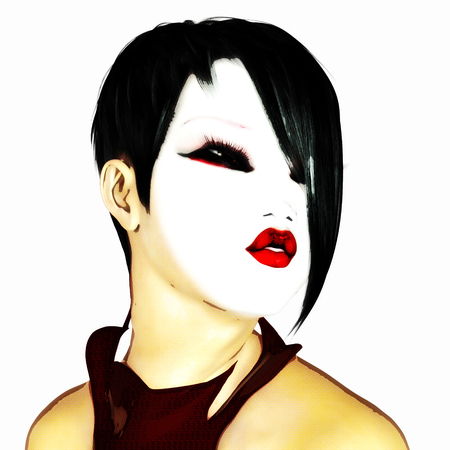 Digital 3D Illustration of a female asian Face Standard-Bild - 104318410
