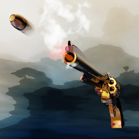 Digital 3D Illustration of a Revolver Stock Photo