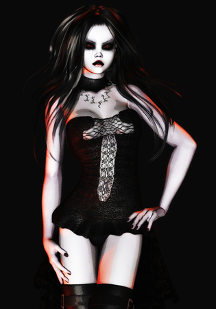 Digital 3D Illustration of a Gothic Female