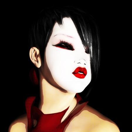 Digital 3D Illustration of a female asian Face Standard-Bild - 104318453