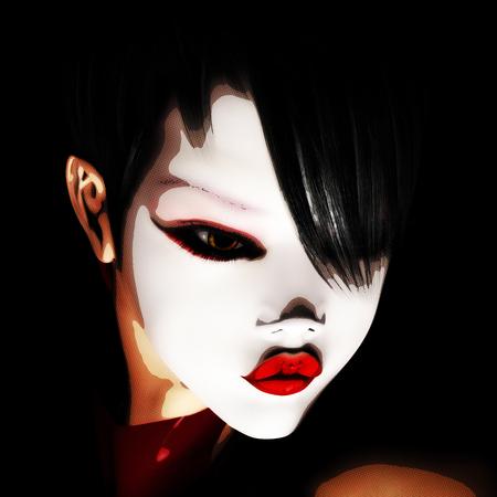 Digital 3D Illustration of a female asian Face Standard-Bild - 104318464