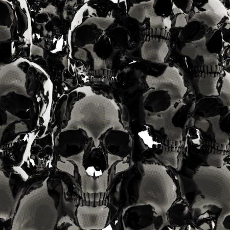 Digital 3D Illustration of Skulls