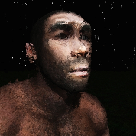 Digital Painting of a prehistoric Man, based on own 3D Rendering, no Model Release or Property Release required