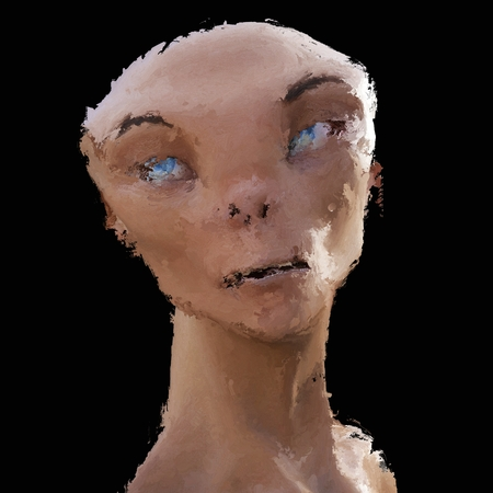 Digital Painting of a creepy Creature, based on own 3D Rendering, no Model Release or Property Release required