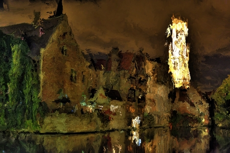 Digital Painting of Bruges by Night