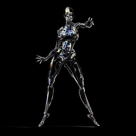 3D Illustration of a female Cyborg Stock Photo