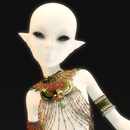3D Illustration of a female Alien