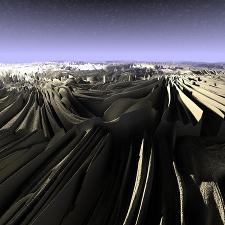Digital 3D Illustration of a surreal Landscape Stock Photo