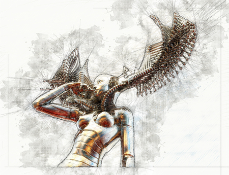 Digital artistic Sketch, based on a self-created 3D Illustration of a female Cyborg, Model-Release or Property Release not required.
