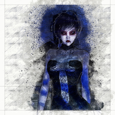 Digital artistic Sketch, based on a self-created 3D Illustration of a Fantasy Female, Model-Release or Property Release not required.
