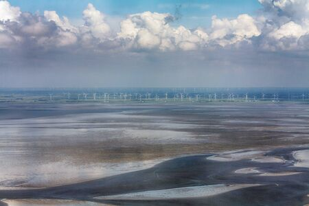 Aerial Photo of the Schleswig-Holstein Wadden Sea National Park in Germany Standard-Bild - 124822427