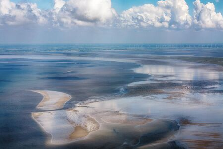 Aerial Photo of the Schleswig-Holstein Wadden Sea National Park in Germany Imagens - 124890883