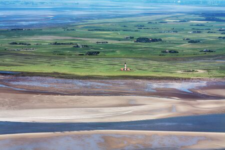 Westerhever, Aerial Photo of the Schleswig-Holstein Wadden Sea National Park in Germany 写真素材