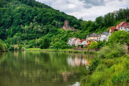 Hike along the long-distance hiking trail Neckarsteig in Germany