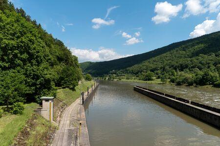 Barrage over the Neckar river along the long-distance hiking trail Neckarsteig in Germany