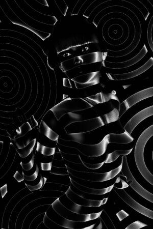 Digital 3D Illustration of a Female in Black and White Foto de archivo - 129370863