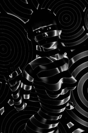 Digital 3D Illustration of a Female in Black and White Stock Photo