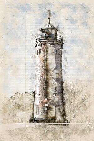 Digital artistic Sketch of a Lighthouse, based on own Photography, Property Release not required.